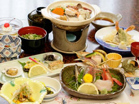 新鮮な魚介類を使った海の幸料理